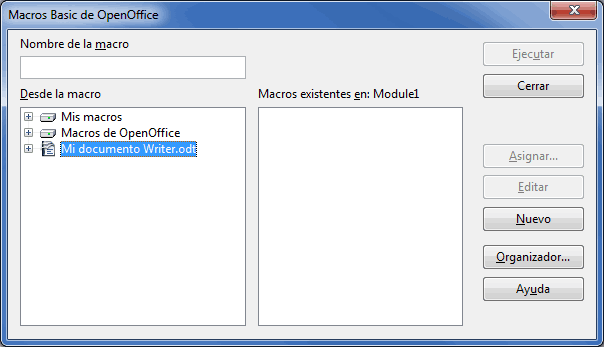 Insertar macro en documento Writer