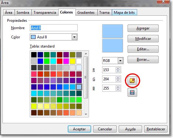 Cambiar la paleta de colores en OpenOffice Draw